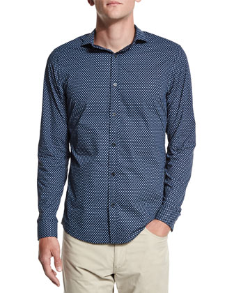 Mini Paisley-Print Woven Sport Shirt, Navy