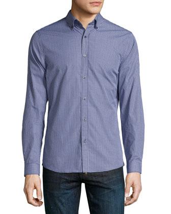 Mini-Check Long-Sleeve Sport Shirt, Navy