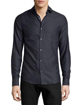 Tonal Herringbone Button-Down Shirt, Charcoal