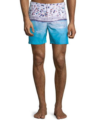 Bulldog Beached Print Swim Trunks, Blue Pattern