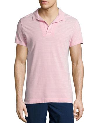 Felix Johnny-Collar Polo Shirt, Pink