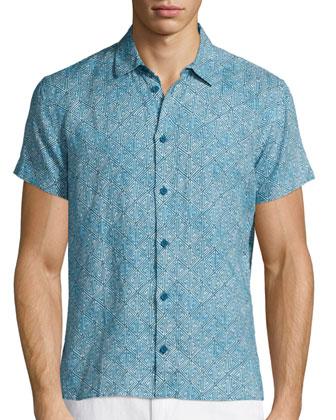 Batik-Print Short-Sleeve Linen Shirt, Teal