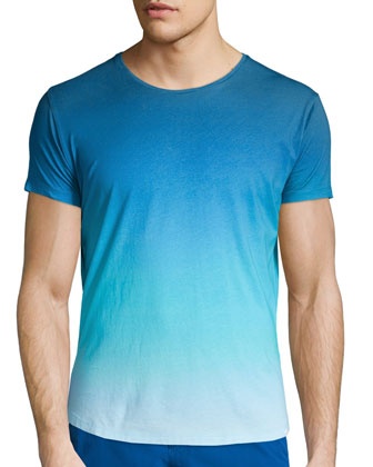 Ombre Short-Sleeve Crewneck Tee, Light Blue
