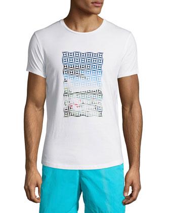 Waikiki-Print Short-Sleeve Tee, White Pattern