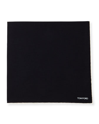 Solid Silk Pocket Square, Charcoal Black