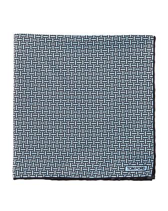 Interlocking-Print Pocket Square, Light Blue