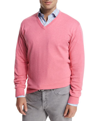 Cashmere-Blend V-Neck Sweater, Pink