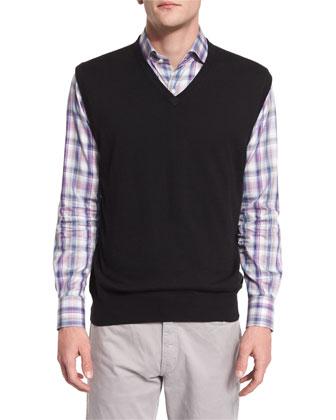 Cashmere-Blend V-Neck Pullover Vest, Black