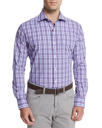 Melange Windowpane Sport Shirt, Purple