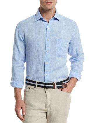 Solid Long-Sleeve Linen Shirt, Blue