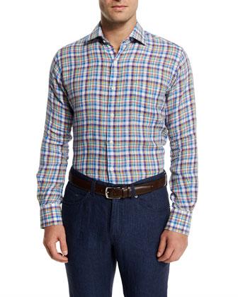 Plaid Long-Sleeve Linen Sport Shirt, Blue