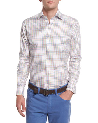 NanoLuxe Pinwheel Plaid Sport Shirt, White