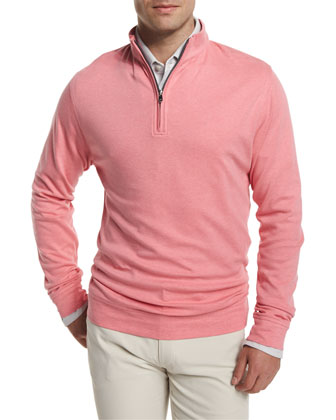 Interlock Quarter-Zip Pullover Sweater, Pink