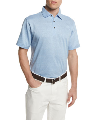 Linen-Blend Short-Sleeve Polo Shirt, Blue