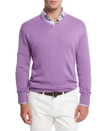 Cashmere-Blend V-Neck Sweater, Light Purple