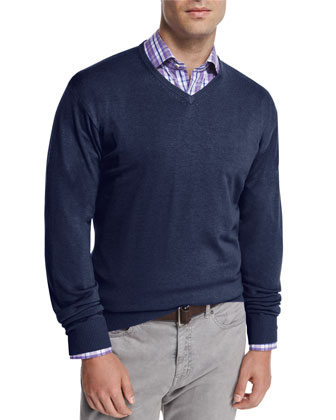 Cashmere-Blend V-Neck Sweater, Navy
