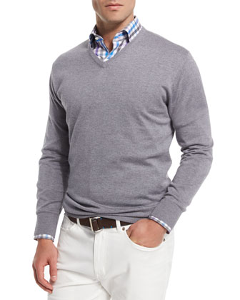 Cashmere-Blend V-Neck Sweater, Light Gray