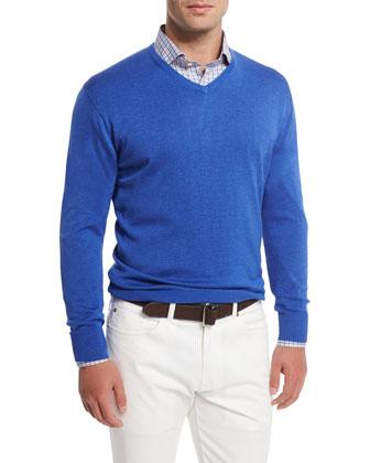 Cashmere-Blend V-Neck Sweater, Dark Blue