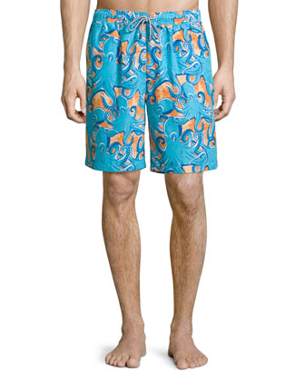 Tangled Octopus-Printed Swim Trunks, Orange Pattern