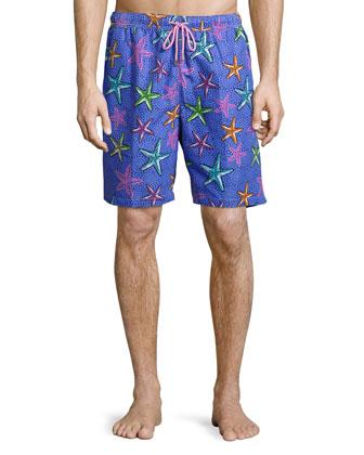 Deep Sea Galaxy Starfish-Print Swim Trunks, Purple Pattern