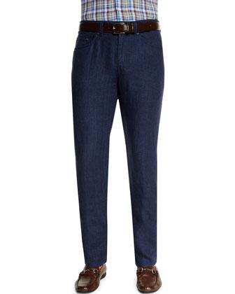 Five-Pocket Linen Pants, Navy