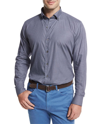 Micro-Check Long-Sleeve Sport Shirt, Blue
