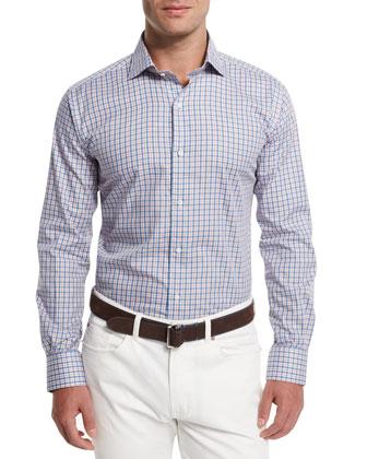 Firenze Check Long-Sleeve Sport Shirt, Blue