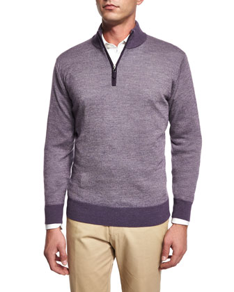 Cashmere-Blend Quarter-Zip Birdseye Sweater, Purple