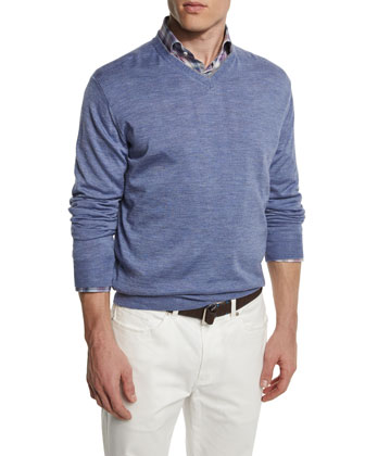 Silk-Blend V-Neck Pullover Sweater, Blue