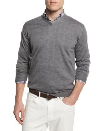 Silk-Blend V-Neck Sweater, Medium Gray