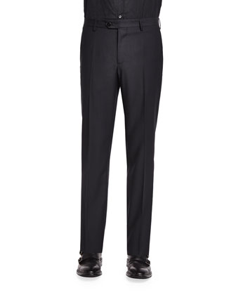 Mini Jacquard Evening Trousers, Black