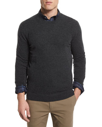 Vetel Cashmere Long-Sleeve Sweater, Dark Gray