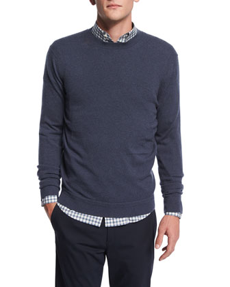 Vetel Cashmere Long-Sleeve Sweater, Blue