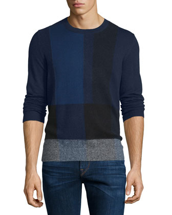 Abstract-Check Cashmere Sweater, Navy