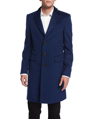 Crombie Cashmere-Blend Coat with Velvet Collar, Navy