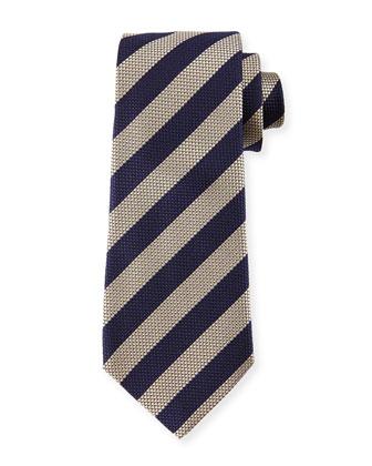 Tonal-Honeycomb Striped Silk Tie