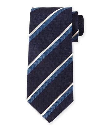 Herringbone-Stripe Silk Tie