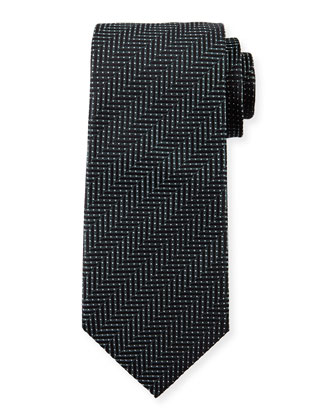 Tonal Herringbone Striped Silk Tie