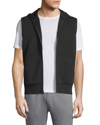 Quilted Zip-Up Hooded Vest, Black