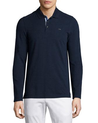 Long-Sleeve Pique Polo Shirt, Navy