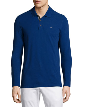 Long-Sleeve Pique Polo Shirt, Blue