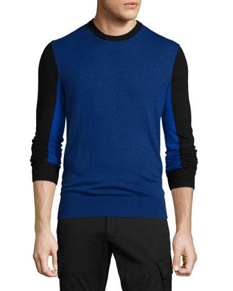 Colorblock Crewneck Sweater, Navy