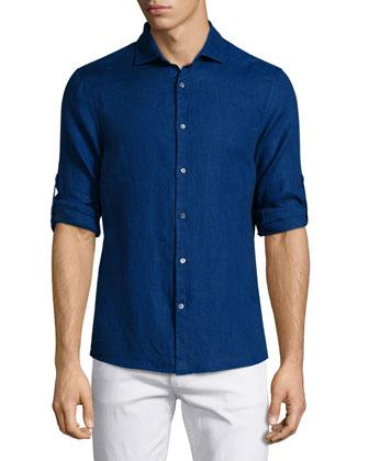 Linen Roll-Tab Sport Shirt, Blue