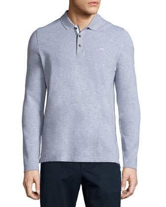 Long-Sleeve Pique Polo Shirt, Gray