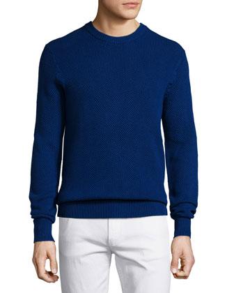 Textured Cotton Crewneck Sweater, Blue