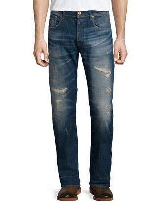 Wils Distressed Slim-Fit Denim Jeans, Blue