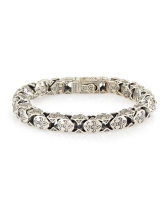 Minos Men's Fleur-De-Lis Large Link Bracelet