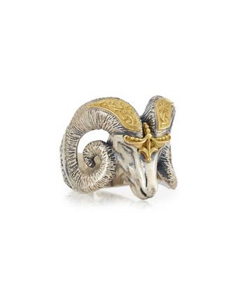 Men's Minos Ram Head Ring, Size 10