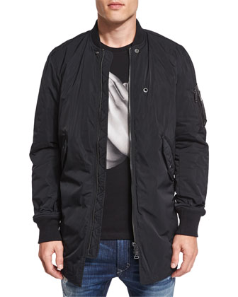 J-Ubilee Nylon Bomber Shirt Jacket, Black