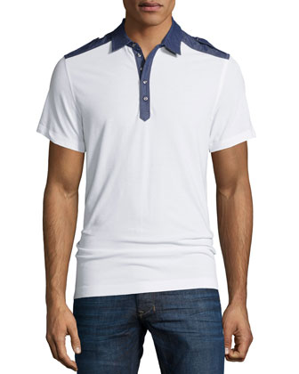 T-Angie Denim-Trim Short-Sleeve Polo Shirt, White/Blue